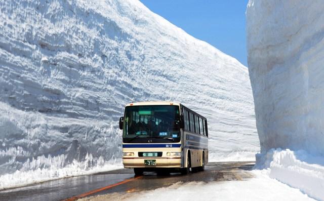 Bis seperti ini yang akan membawa turis ke lokasi koridor salju Gunung Tateyama.