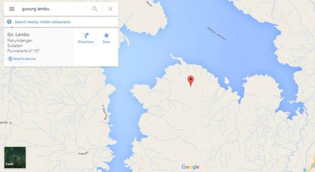 Peta lokasi Gunung Lembu di google maps.