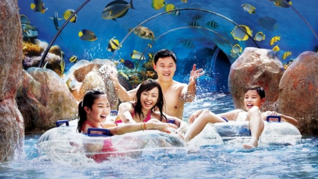 Bermain air dengan gembira di Adventure Cove Waterpark
