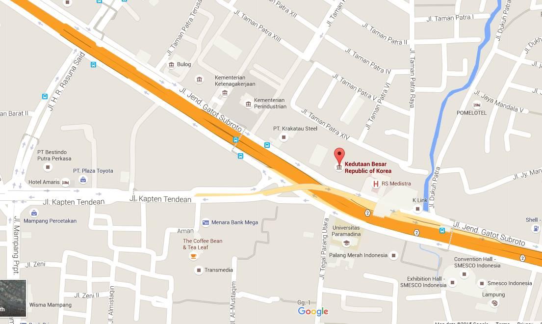 Peta lokasi Kedutaan Besar Korea Selatan di Jakarta