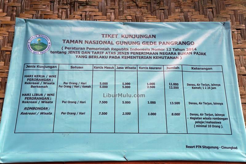 Harga tiket masuk ke tempat wisata Sukabumi, Situ Gunung