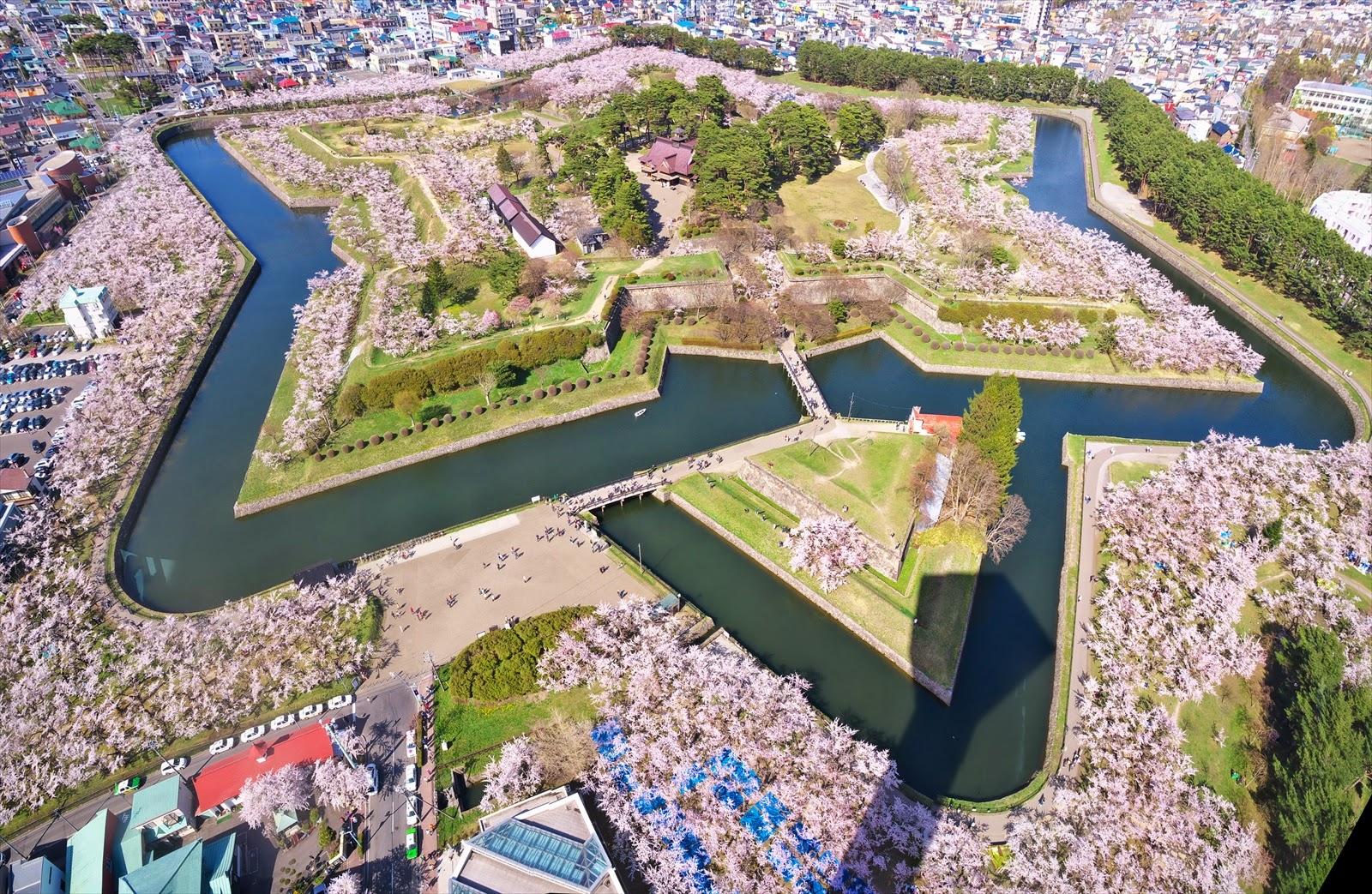 Foto udara benteng Goryokaku