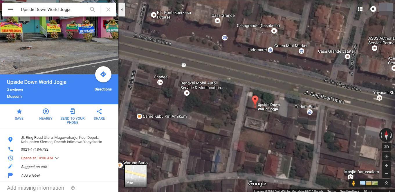 peta lokasi upside down world jogja di google maps