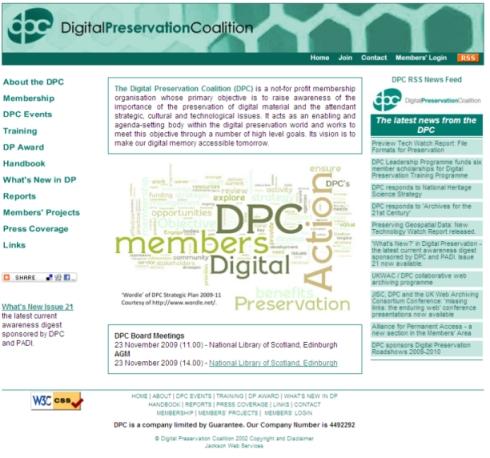Digital Preservation Coalition website