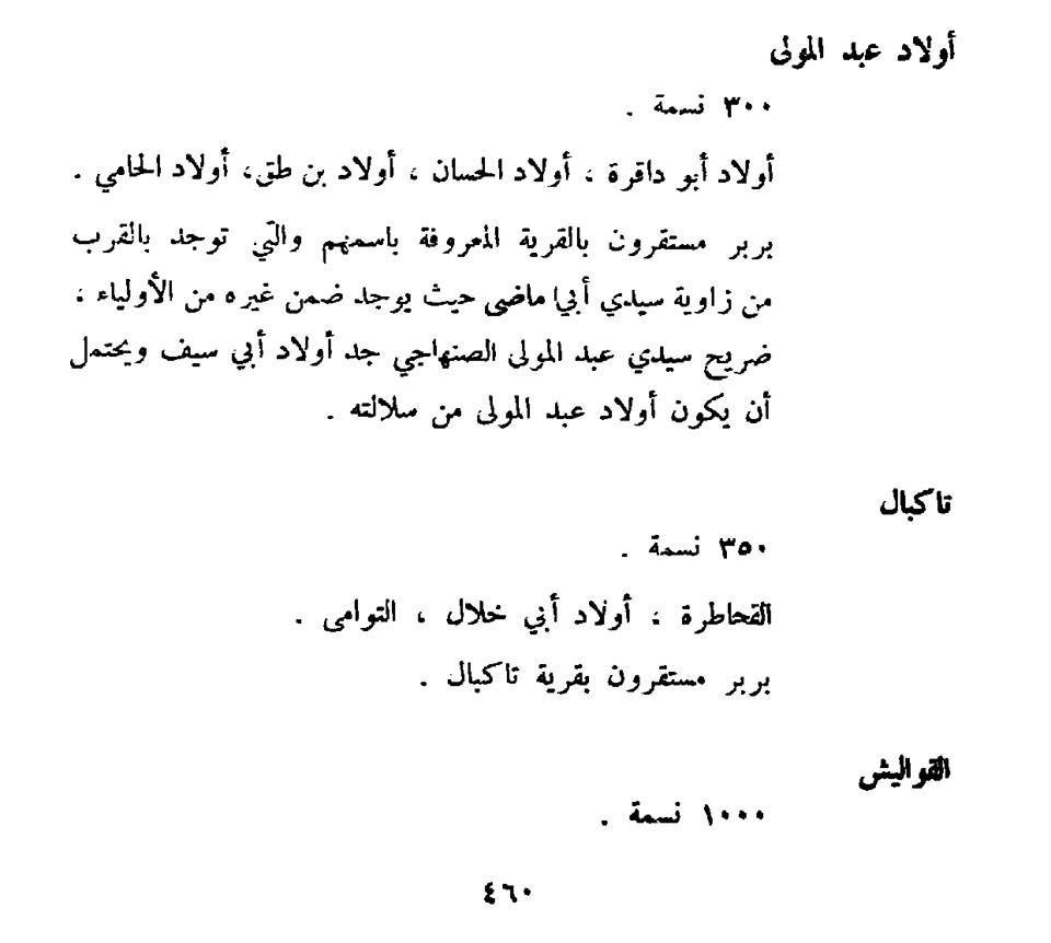 اولاد عبد المولى تاكبال ... اصول مدينة ككلة الحبيبة من كتاب سكان ليبيا الغرب لـهنريكو دي اغسطيني