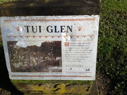 Signage about the original Tui Glen Campground