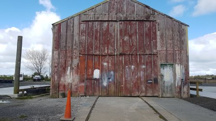 The original boat building shed still standing on the NZMCA Park grounds.