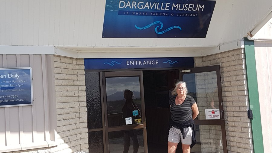 Sarah at the entrance to the museum
