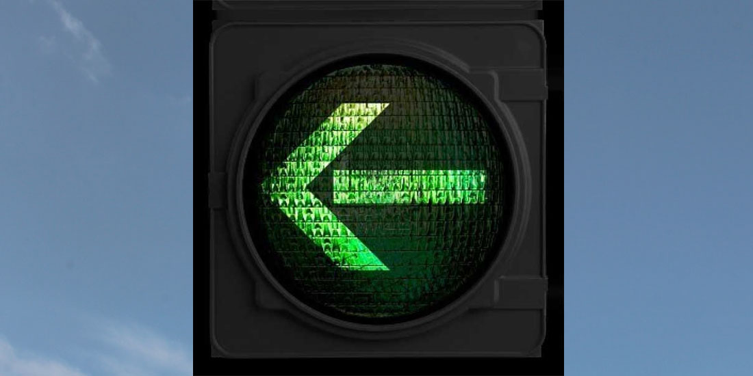 traffic light with green arrow signal