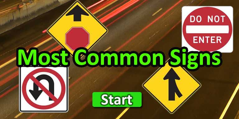 Most Common Traffic Signs – Copyright: Quizagogo.com