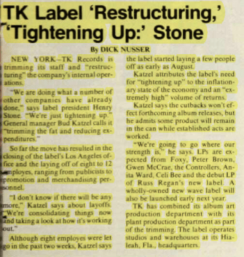 TK Records Label Restructuring – BILLBOARD (1979)