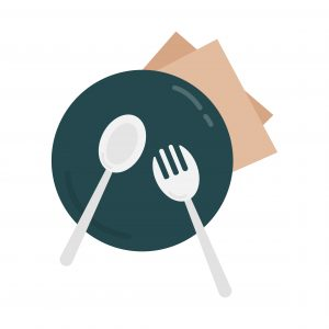 Plate and cuttlery graphic illustration