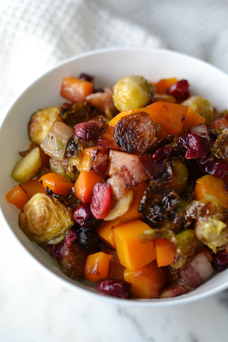 Maple Bacon Brussel Sprouts with Butternut Squash and Cranberries (AIP/Paleo)