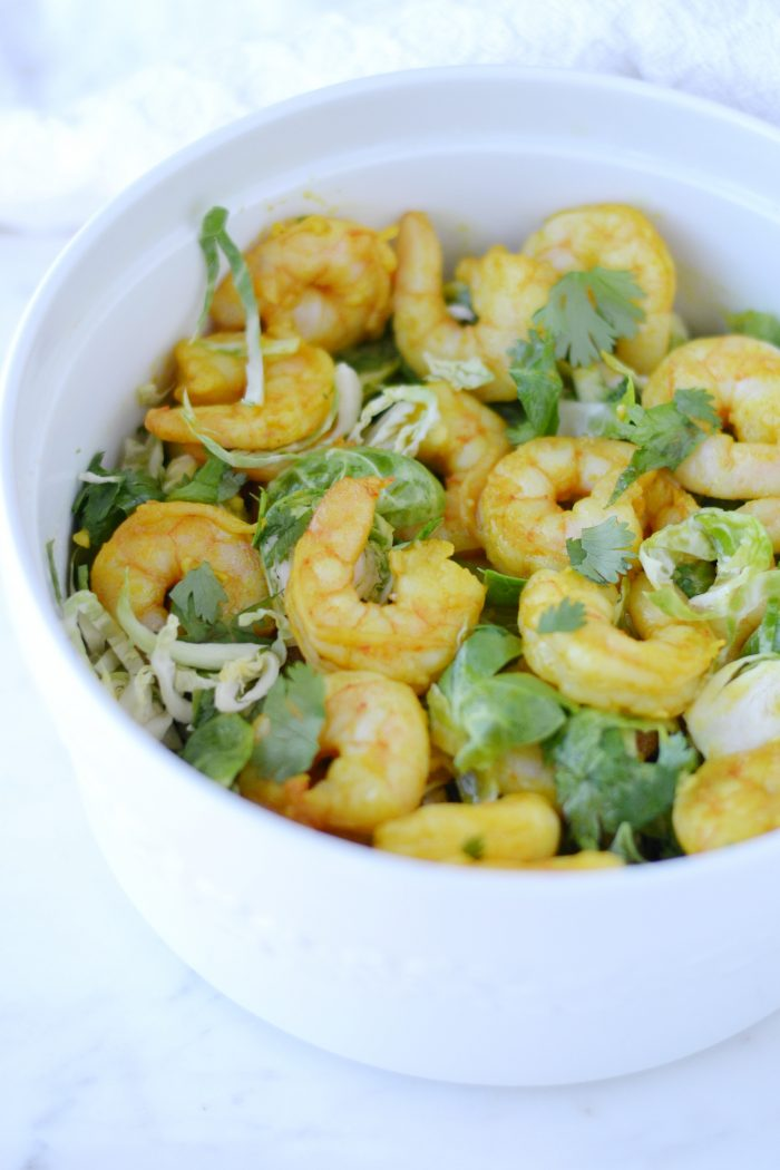 Roasted Turmeric Shrimp with Brussel Sprout Cilantro Salad (AIP/Paleo/Whole30/Keto)