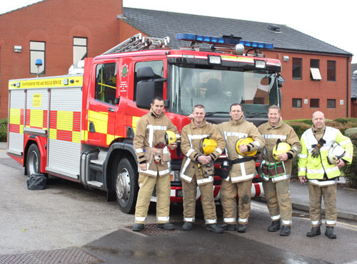 Firefighters Christopher Ward, Damian Peaker, Rob Horton, Christopher Gaunt and Watch Manager Steve Whitehouse