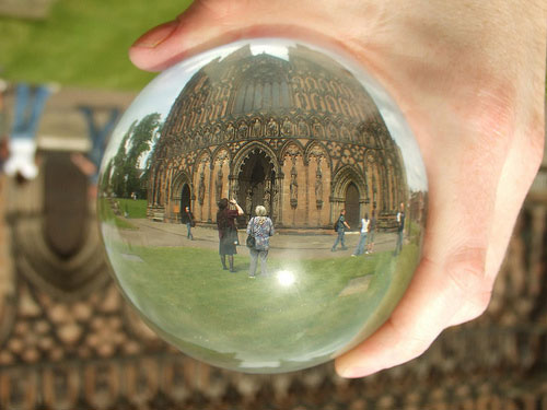 Lichfield Cathedral through a crystal ball. Pic: Lee Jordan