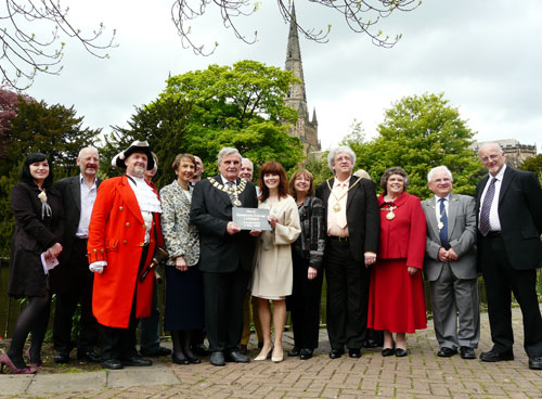Joanne Malin with dignitaries at the launch of Lichfield's Speakers' Corner. Pic: Lichfield District Council