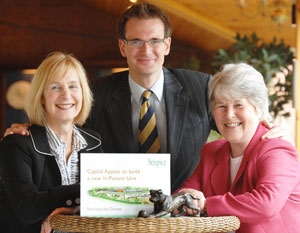 Charles Hanson with Angela Burns, Group Chief Executive Officer for Moor Hall Hotel (left) and St Giles Hospice Capital Appeal Director, Laura Pennycuick