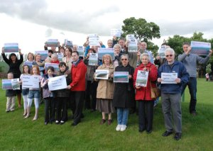 Streethay residents protest against the plans for housing development in their village