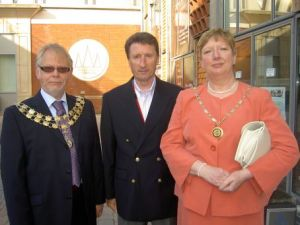 Cllr Powell, Nick Sedgewick and Jean Powell outside the Garrick