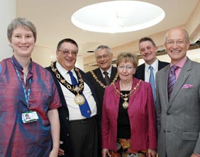 Dr Lisa Boulstridge (St Giles Hospice Consultant), Councillor Gerald Pinner (Mayor of Tamworth), Councillor Geoff Morrison (Mayor East Staffordshire), Pamela Morrison (Mayoress of East Staffordshire), Tony Shaw (Director SpellarMetcalfe, constructors of the new IPU) and Peter Holliday (Group Chief Executive of St Giles Hospice)