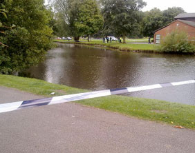 A police cordon around the Beacon Park pool