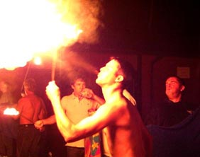 Lichfield Round Table members are taught the art of fire-eating
