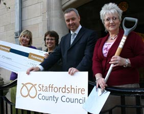 County Councillor Ben Adams with council staff Nicola Sawyer, Daphne Sharp and Janet Markwell to launch the new scheme