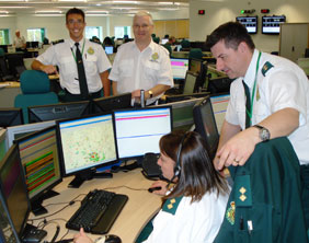Ambulance staff at the new control centre