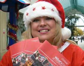 Emily Robinson with the Christmas what's on guide