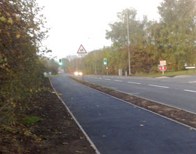 The new crossing and footpath in Streethay