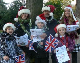 Ruth Witczak, Andy Turner, Kellie Wall, Jude Peters, Jack Turner, and Ginnie-May Turner get launch Carols in the Park