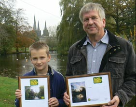 Jake Smith and John Godley with their framed pictures
