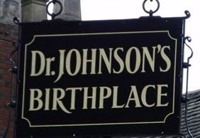 Dr Johnson's Birthplace sign. Pic: Elliott Brown