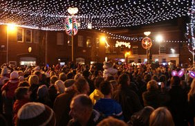 The Christmas lights go on in Market Square. Pic: Will Tinsdeall