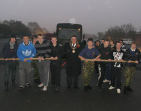 Cllr Gerry Pinner with students at the start of the truck pull
