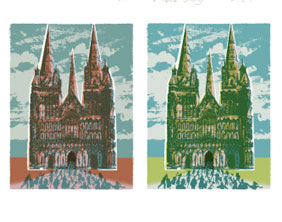 The two versions of Andy Lovell's Lichfield 2009 print