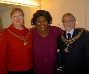 Jean Powell, Rustie Lee and Councillor Joseph Powell