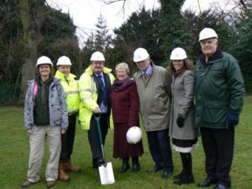 Heather Francis, Paul Turner, Mike Cofferky, Cllr Val Richards, Cllr Neil Roberts, Alison Richards and Cllr David Smedley launch the parks improvement scheme