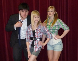 Guys and Dolls cast members Scott Minnis, Ellie Bromwich and Emily Nancarrow.
