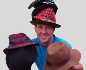Craig Allen juggling some of the hats he will need for his 25 characters in Ain't no Angels.  Hats courtesy Lichfield Costume Hire.