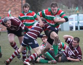 David Peplow tries to break a tackle