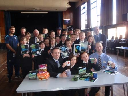 Nether Stowe Scool staff and students enjoying Fairtrade products