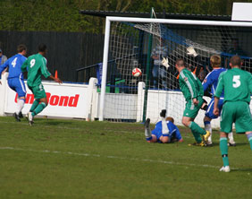 Kidsgrove Athletic take the lead against Chasetown. Pic: Dave Birt