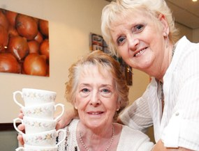 Ruth Crane and Lyn Shiel get ready for the Mammoth Coffee Morning