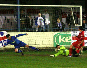 Danny Smith scores against Leek Town. Pic: Dave Birt