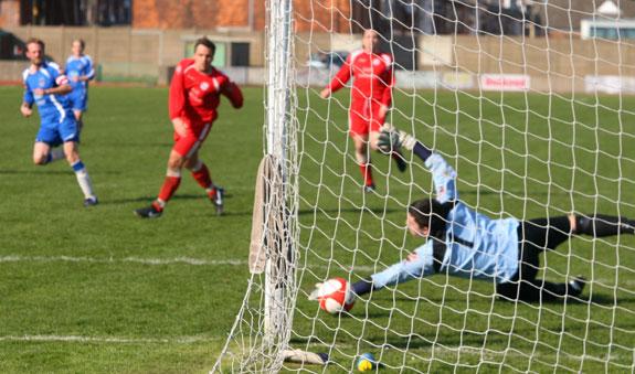 Chasetown FC captain Dave Egan makes it 5-0 against Goole AFC. Pic: Dave Birt