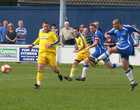 Gary Hay scores against Spalding United. Pic: Dave Birt