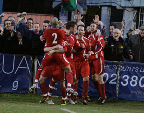 Chasetown's players celebrate. Pic: Dave Birt
