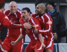 Danny Smith celebrates. Pic: Dave Birt